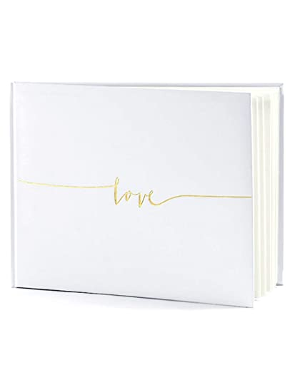 Off White Wedding Guest Book Love In Gold Letters 24 X 18 5cm