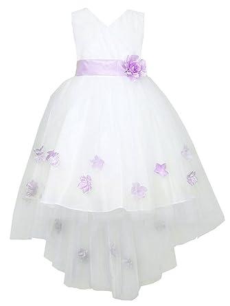 Amazon calla collection usa little girls white lilac hi low calla collection usa little girls white lilac hi low sash petal tulle flower girl dress mightylinksfo