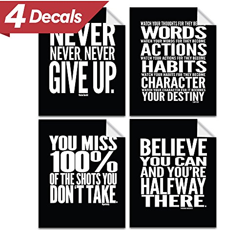 Motivational Quote Workout Gym Poster   8  X 10    Set Of 4   Classroom Office Wall Art Decals   Inspirational Teen Boy Girl Fitness Success Sports Goal Hard Work Decor   Adhesive Black Finish