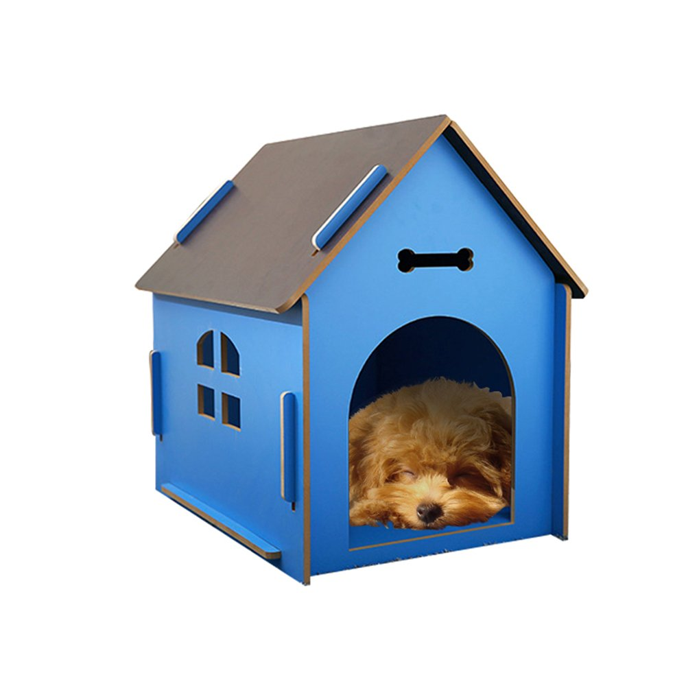 bluee LYXINY Indoor Outdoor Pet House Solid Wood Kennel Villa Animal Housing Upscale Cat Nest Fossa Waterproof bluee Green Pink (color   bluee, Size   L)