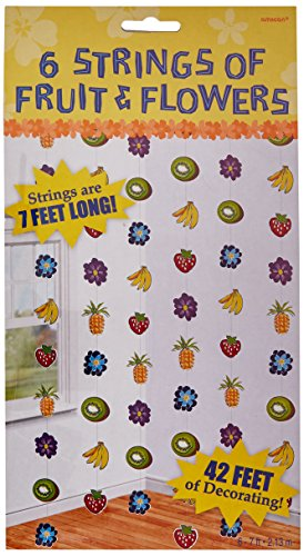 Amscan Sun-Sational Summer Luau Fruity Flowery String Cutouts Decorations (6 Piece), Multi Color, 12 x 6.5