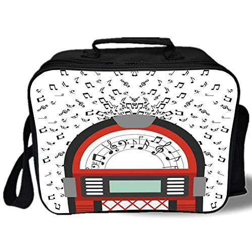 Jukebox 3D Print Insulated Lunch Bag,Cartoon Party Music Antique Old Vintage Retro Box with Notes Artwork,for Work/School/Picnic,Red Black Grey and White ()