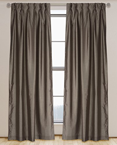 (LJ Home Fashions 576 ZOI Lined Faux Silk Pinch Pleat Tab Top Curtain Panel Pair, 30