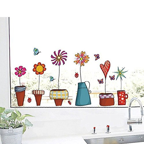 1 Set Cute Flower Kitchen Butterflies Wall Stickers Living Room Bedroom Princess Nursery Leading Popular Dream Animals World Moon Star Ocean Sun Vinyl Window Mural Art Decor by GVGs Shop