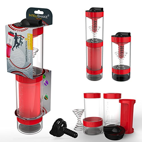 Intelishake-Fiery-Red-Shaker-bottle-Multi-Compartment-ProteinWorkoutJuice-with-water-carbon-filter-for-Sports-Exercise-and-Gym