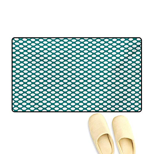 """Doormat,Polka Dotted Pattern Traditional Style European Inspired and Vibrant Colored Image,Bath Mat 3D Digital Printing Mat,Teal White,32""""x48"""""""