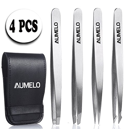 Tweezers Set 4-Piece Professional Stainless Steel Tweezers Gift with Travel Case by Aumelo - Best Precision Eyebrow and Splinter Ingrown Hair Removal Tweezer Tip,No Colored & Chemical Free ()
