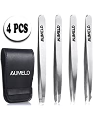 Tweezers Set 4-Piece Professional Stainless Steel Tweezers...