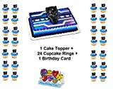 BLACK PANTHER WARRIOR MOVIE Cake Topper Set Cupcake 24 Pieces plus Birthday Card