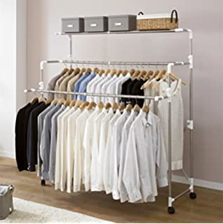 Premium Quality Adjustable Foldable Rolling Clothes Laundry Drying Clothing Rack Stainless Steel Rod With Wheels