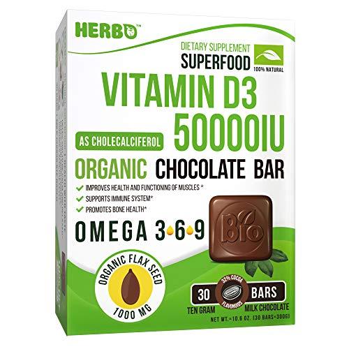Vitamin D3, Organic- Cholecalciferol 50000 IU - Healthy Bones, Muscle Teeth - Organic Chocolate Bar, Organic Omega 3, Premium Taste - Non-GMO, Gluten Free