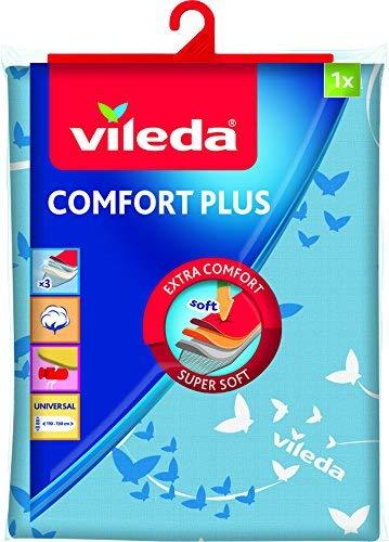 Vileda Comfort Plus - Funda de planchar, tres capas, tamaño universal, textura suave 100% algodón, medidas: 130 x 40 cm, color azul: Amazon.es: Hogar