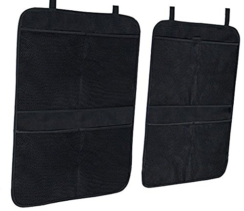 ''Kick Mat Car Seat Back Organizer With On Smell,Extra Large Size For Maximum Coverage,Reinforced Corners To Prevent Sag And 4 Large Storage Organizer Pockets '' (Black) by MINSINHO (Image #3)