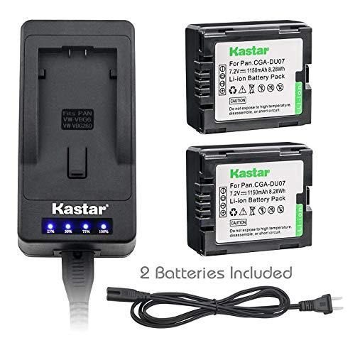 (Kastar LED Super Fast Charger & Camcorder Battery X2 for Panasonic CGR-DU06 CGA-DU07 CGR-DU07 NV-GS330 GS508 MX500 PV-GS180 GS400 GS500 SDR-H48 H250 H280 VDR-D160 D308 D310 D400 M55 M70 M75)