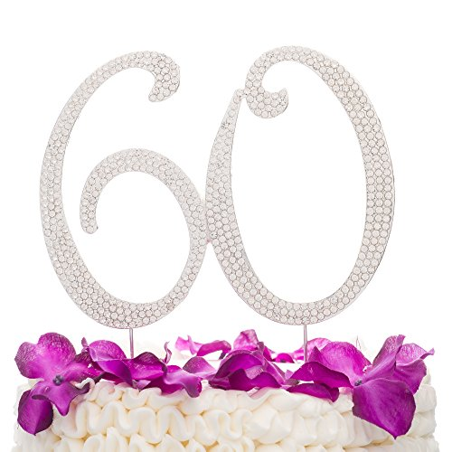 Birthday 60th Anniversary (Ella Celebration 60 Cake Topper for 60th Birthday or Anniversary Silver Party Supplies Decoration Ideas)