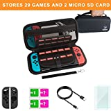 Carrying Case and Screen Protector for Nintendo Swtich, Mebarra Switch Accessories Starter kit Include Protective Travel Shell Case, Charging Cable, Joy-Con Cover (29 Game Cards Holders, Black) Review