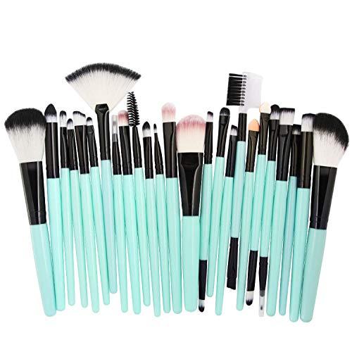 25 pcs Makeup Brushes Set Foundation Powder Blush Eye Shadow Brow Lash Fan Lip Concealer Face MakeUp Tool Brush Kit,green black