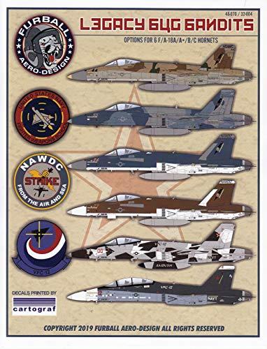 FUR32004 1:32 Furball Aero Design F-18A F-18A+ F-18B F-18C Hornet Super Hornet 'Legacy Bug Bandits' [WATERSLIDE Decal Sheet]