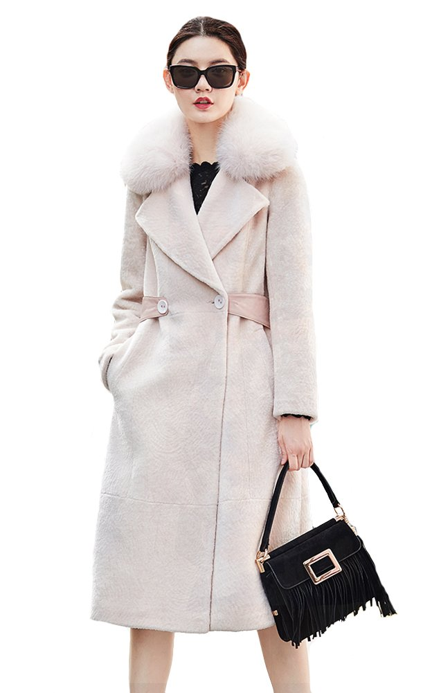 Queeenshiny Fashionable Women's Wool Coat with Fox Fur Coat White S(4-6)