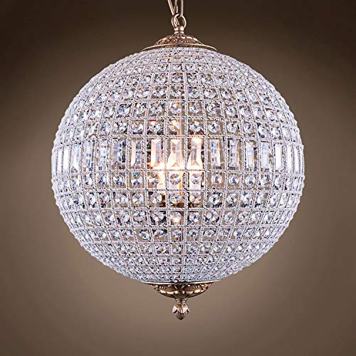 19th c. Crystal Sphere Transitional 5 Light 24