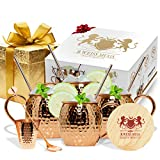 Copper Mugs Set Of 4 Moscow Mule By B.WEISS Handmade Hammered Copper Cups 100% Pure Copper Comes in an elegant gift box+Bonus: 4 copper straws 4 coasters 1 shot mug 1 spoon