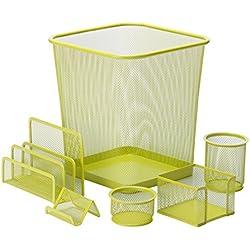 Honey-Can-Do OFC-04882 6Piece Mesh Desk Set, Lime