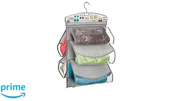 mDesign Organizador de armario para carteras - Exhibidor con 5 bolsillos para conservar bolsos, sobres y más - Guardarropa en plástico gris con textura de ...
