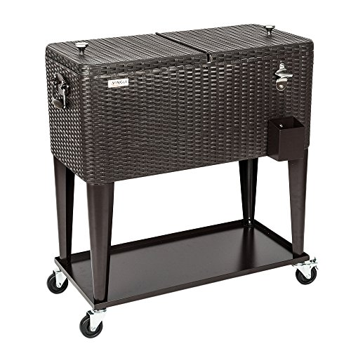 Price comparison product image VINGLI 80 Quart Rolling Ice Chest on Wheels, Portable Patio Party Bar Drink Cooler Cart, Wicker PP Rattan with Shelf, Beverage Pool with Bottle Opener and Rolling Cover