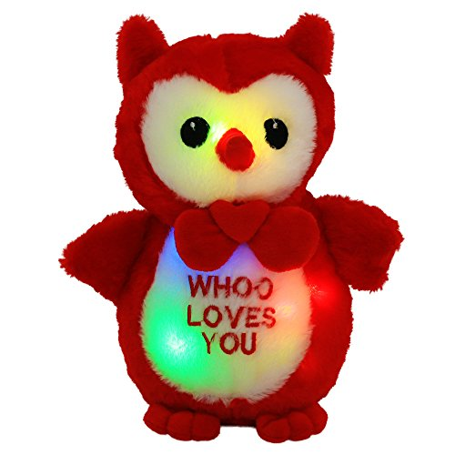 Wewill LED Cute Cuddle Loving You Owl Wearing Bow-Tie, 9.5 inch, Red