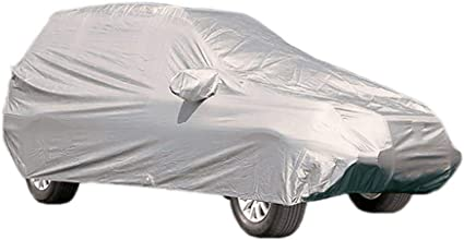 Vikenner Car Cover SUV Waterproof Breathable Proof Outdoor Covers Universal Fits Up Waterproof//Windproof//UV Protection//Reflective Full Car Covers Car Tarpaulin gray