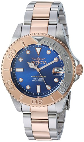 Gold Tone Floating Crystal Watch - Invicta Women's Pro Diver Quartz Diving Watch with Two-Tone-Stainless-Steel Strap, 9 (Model: 24635)