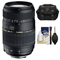Tamron AF 70-300mm F/4-5.6 Di LD Macro Lens + Case + Accessory Kit for Canon EOS 6D, 70D, Rebel T3, T3i, T4i, T5, T5i, SL1 Digital SLR Cameras