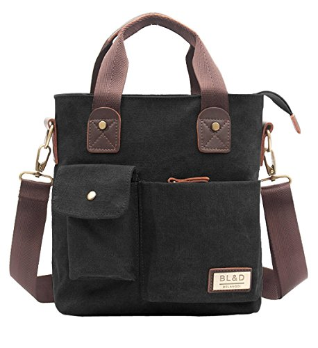 (Degohome Canvas Top Handle Satchel Handbags Tote Purse Shoulder Bag For Women & Man (black02))