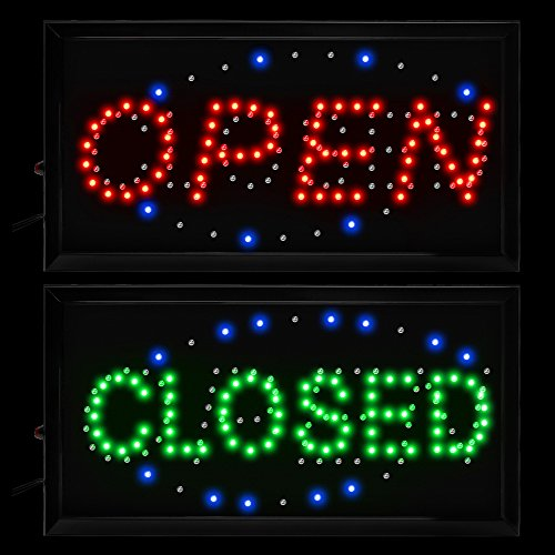 Boshen 2 in 1 Open Closed Neon Signs Flashing LED Business Display Sign with On/Off Switch for Restaurant Cafe Bar Pub Shop Store (19