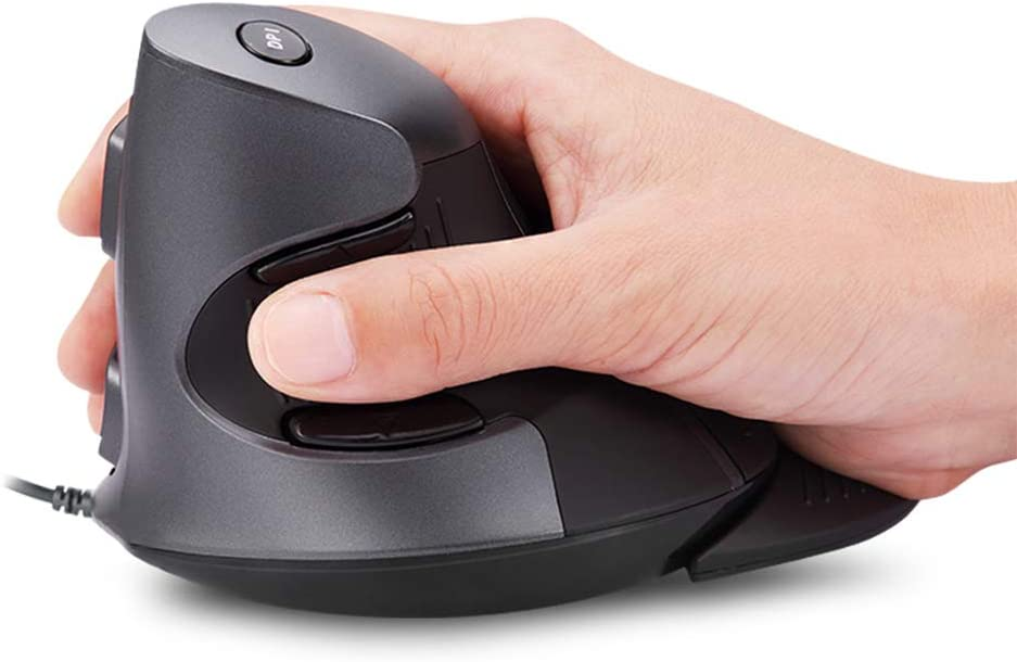 DELUX Wired Ergonomic Vertical Mouse, Large Ergonomic Computer Mouse with 6 Buttons, 3 Gear DPI(600/1000/1600) Removable Wrist Rest and for Reduce Wrist Pain for PC Computer Laptop (M618BU-Black/Grey)