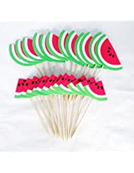 Lauren 24 Pcs Watermelon Summer Mood CupCake Decorative Toppers Cake Decorating Tools for Birthday Party