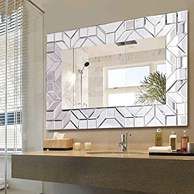 "WATERJOY Large Framed Rectangular Bathroom Mirror, Sliver Vanity Glass Wall Make-up Mirror, 36""x24"" (White) - Exceptional Quality: This silver framed mirror is made of MDF wooden board and flannel that makes it resistant to oxidation and discoloration, being specially manufactured to last for many years to come Double-Way Hanging: This one mirror can be installed horizontally or vertically, density foam packaged when transit, d-ring hangers and screws are included Beautifully Detailed and Expertly Crafted: The detailed frame design accents the mirror itself and displays a striking and restrained look to the bathroom, This modern framed mirror will add a beautiful detail to your home decoration - bathroom-mirrors, bathroom-accessories, bathroom - 51B7riNB3SL. SS400  -"