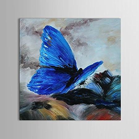 Iplst Papillon Bleu Toile Abstrait Moderne Mur Peinture Huile Sur Toile Decoration Sans Cadre Sans Chassis Amazon Fr Cuisine Maison