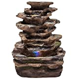 totoshop Home Indoor Tabletop Fountain Waterfall With Multicolor LED Lights New Brown