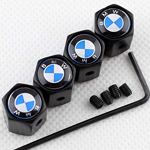 Anti-theft Car Wheel Tire Valve Stem Cap DUST COVER Universal With Tool For BMW Various Styling LOGO (Black) ()