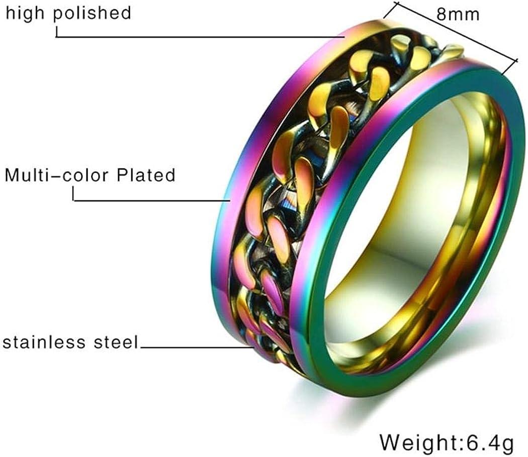 Stainless Steel Jewelry JEWURA Couple Love Ring Rotatable Rainbow Chain