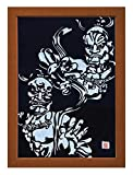 "Cutout picture Japanese art collage KIRIE ""Todaiji Kongorikishi"" Vajradhara(a Deva king who is a guardian of the Buddha) Made by Washi(Japanese paper) Mist Blue, 13"" x 18"""