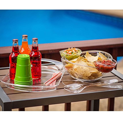 Acrylic Serving Pieces - 6-Piece Acrylic Serving Set Chip & Dip Salad Fruit Bowl Serving Tray Party Pack