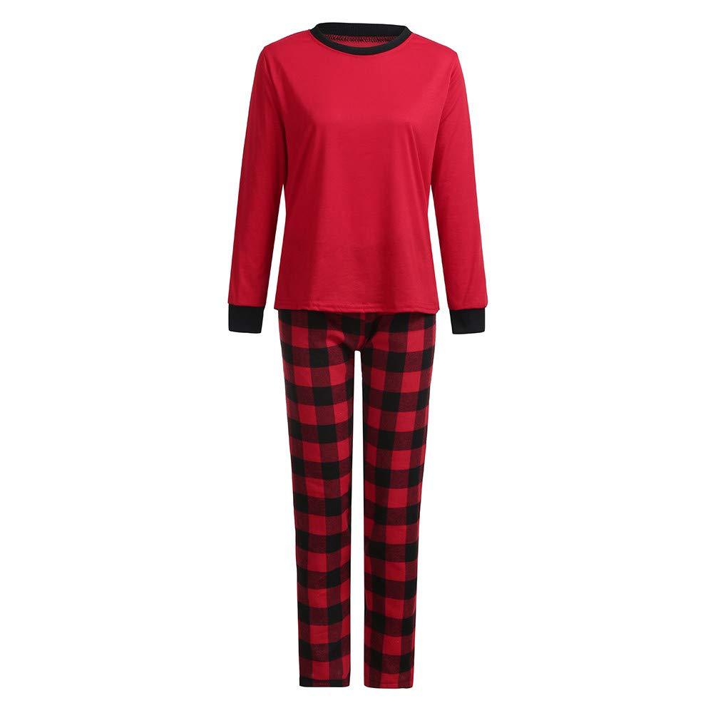 YunZyun 2 Piece Women Men Kids Christmas Plaid Pajama Sets Jammies Matching Family Winter Long Sleeve Cartoon Fashion Novetly Warm Cotton Pjs Sleepwear for Mon Dad Baby Boys Girls (Women, XL)