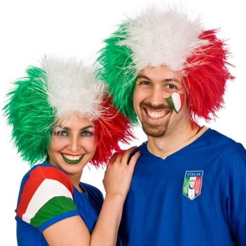 I LOVE FANCY DRESS LTD Tifosi Parrucca Afro Bandiera Italiana per Tifosi di Calcio Italiani Tifosi di Rugby O Qualsiasi Evento Sportivo E Feste in Costume per Uomini O Donne