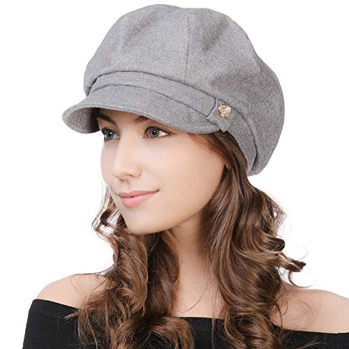 Womens Winter British Visor Beret Newsboy Cap Paperboy Cabbie Painter Driving Hat Gray