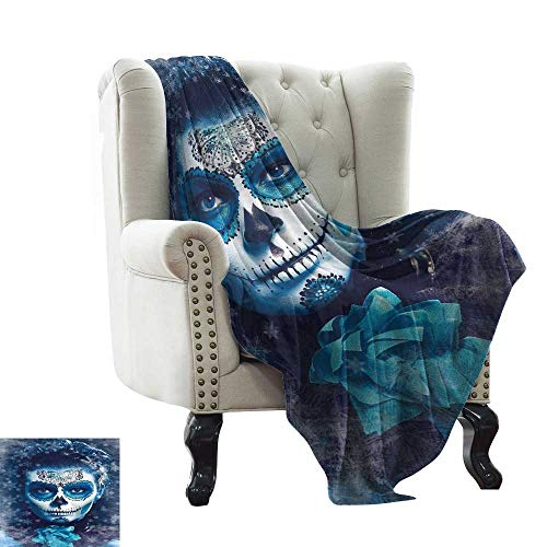 Warm Blanket Santa Muerte Concept Winter Ice Cold Snowflakes Frozen Dead Folkloric Traveling,Hiking,Camping,Full Queen,TV,Cabin 70