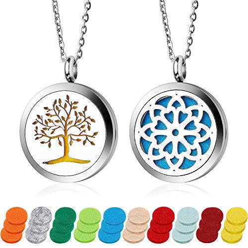 Essential Oil Diffuser Necklace 2PCS Perfume Necklace Aromatherapy Diffuser Locket Pendant Set with 24 Inches Adjustable Chain and 30 Refill Pads (Piece 2 Perfume)