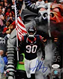 Jadeveon Clowney Autographed Houston Texans 8x10 PF Photo w/Flag- JSA W Auth Blue