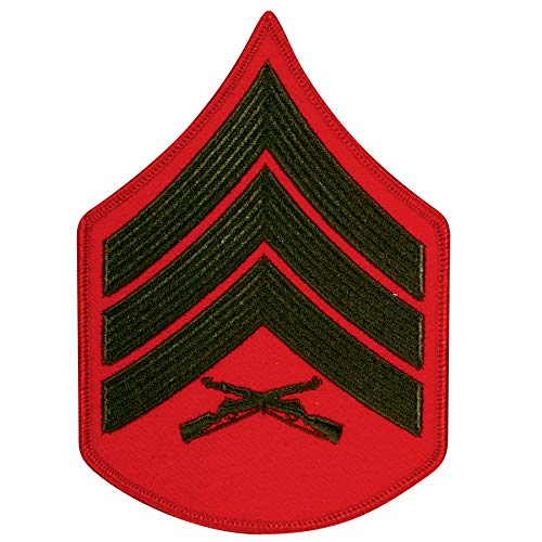 Medals of America United States Marine Corps (USMC) Chevron Green Embroidered on red SGT Sergeant Male Red ()